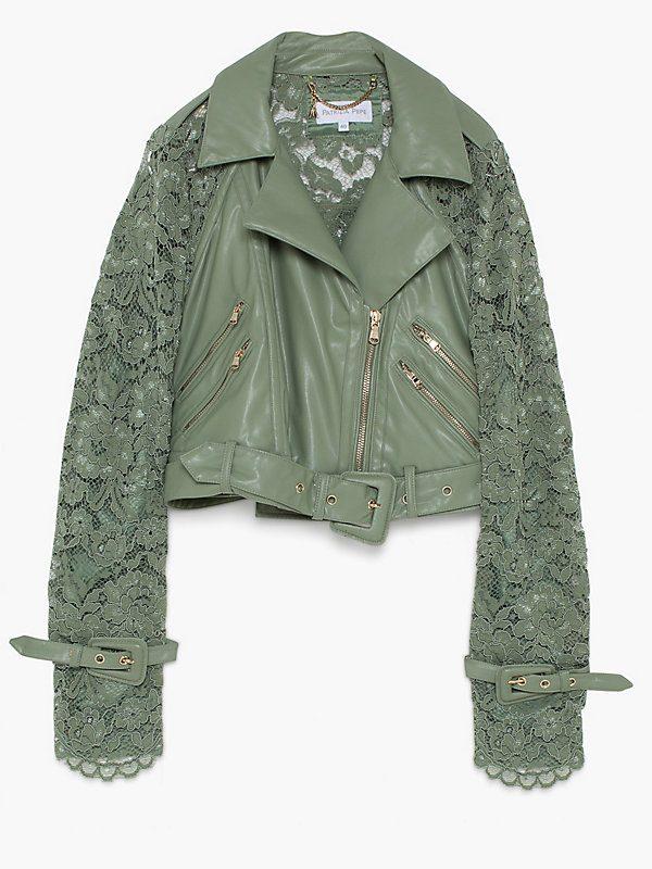 Patrizia Pepe groen leren jacket met kant | Falcon Fashion