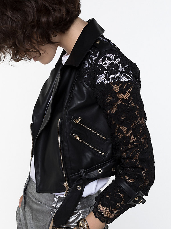 Patrizia Pepe zwart leren jacket met kant | Falcon Fashion